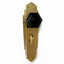 Bakelite Hexagon Door Knobs Black on Empire Bathroom Plates Brass