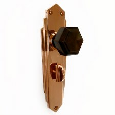 Bakelite Hexagonal Door Knobs Walnut on Empire Bathroom Plates Copper