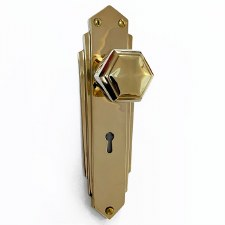 Hexagonal Art Deco Mortice Knobs on Lock Plate Polished Brass Unlacquered