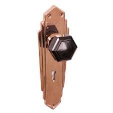 Bakelite Hexagonal Door Knobs Black on Empire Lockplates Copper