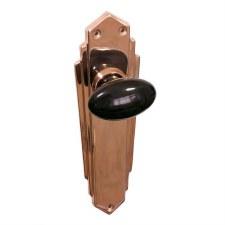 Bakelite Smooth Oval Door Knobs Black on Empire Latchplates Copper