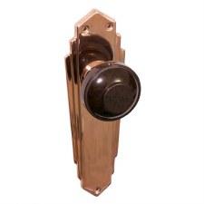 Bakelite Round Door Knobs Walnut on Empire Latchplates Copper