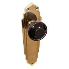 Bakelite Round Door Knobs Black on Empire Latchplates Brass