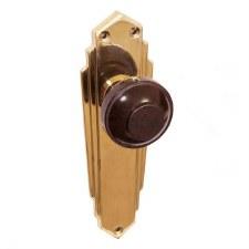 Bakelite Round Door Knobs Walnut on Empire Latchplates Brass