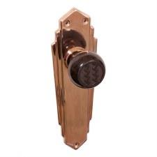Bakelite Ritz Door Knobs Walnut on Empire Latchplates Copper