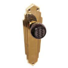 Bakelite Ritz Door Knobs Black on Empire Latchplates Brass