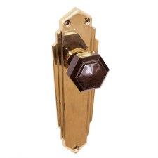 Bakelite Hexagonal Door Knobs Walnut on Empire Latchplates Brass