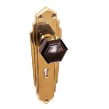 Bakelite Hexagonal Door Knobs Black on Empire Lockplates Brass