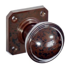 Bakelite Stepped Round Door Knobs on Square Rose Walnut