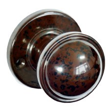 Bakelite Stepped Round Door Knobs on Round Rose Walnut