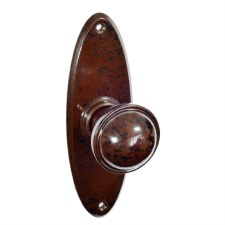 Bakelite Stepped Round Door Knobs on Oval Latchplates Walnut