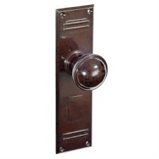 Bakelite Stepped Round Door Knobs on Gatsby Latchplates Walnut