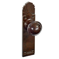 Bakelite Stepped Round Door Knobs on Palais Latchplates Walnut