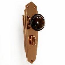 Bakelite Stepped Round Door Knobs Walnut on Empire Bathroom Plates Copper