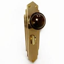 Bakelite Stepped Round Door Knobs Walnut on Empire Bathroom Plates Brass