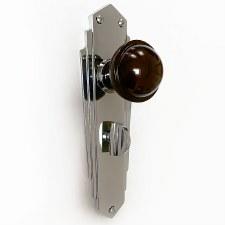 Bakelite Stepped Round Door Knobs Walnut on Empire Bathroom Plates Chrome