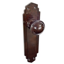 Bakelite Stepped Round Door Knobs on Empire Latchplates Walnut