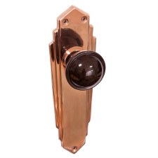 Bakelite Stepped Round Door Knobs Walnut on Empire Latchplates Copper