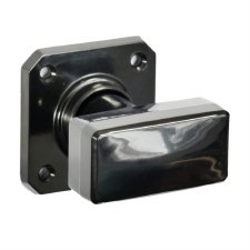 Bakelite Tee Door Knobs on Square Rose Black