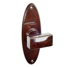 Bakelite Tee Door Knobs on Oval Latchplates Walnut