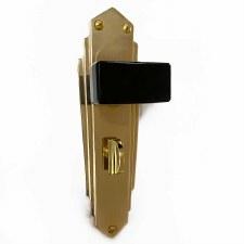 Bakelite Tee Door Knobs Black on Empire Bathroom Plates Brass
