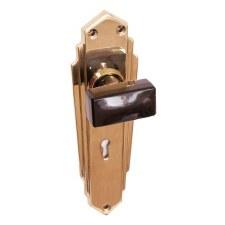 Bakelite Tee Door Knobs Black on Empire Lockplates Brass