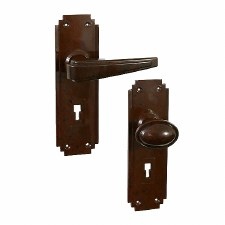 BROLITE 6901 Real Bakelite Door Handle & Knob Walnut