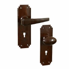 BROLITE 6902 Real Bakelite Unsprung Door Handle & Knob Walnut