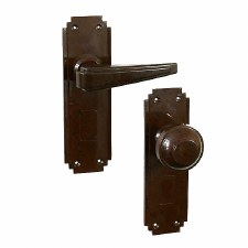 BROLITE 6906 Real Bakelite Unsprung Door Handle & Knob Walnut