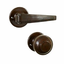 BROLITE 6912 Real Bakelite Unsprung Door Handle & Knob Walnut