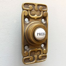 Art Nouveau Bell Push Antique Satin Brass
