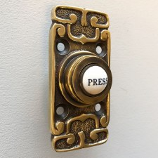 Art Nouveau Bell Push Renovated Brass