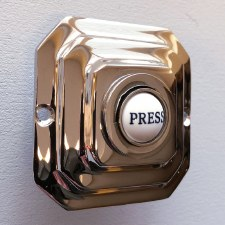 Art Deco Square Bell Push Polished Chrome