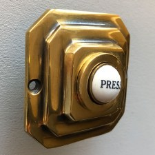Art Deco Square Bell Push Renovated Brass