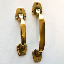 Art Deco Pull Handes 153mm Renovated Brass