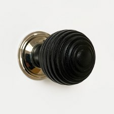 Beehive Cupboard Knob 38mm Ebonized Wood Polished Nickel Rose