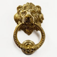 Lion Head Door Knocker with Beaded Ring Polished Brass