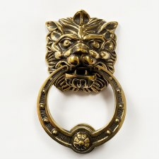 Lion Head Knocker with Decorative Ring Renovated Brass