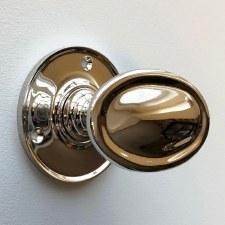 Edwardian Oval Door Knobs Polished Nickel