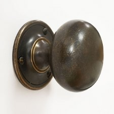 Victorian Bun Door Knobs 52mm Distressed Antique Brass