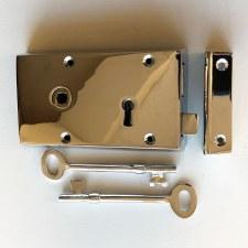 "Broughtons 5"" Rim Lock LH Polished Chrome"