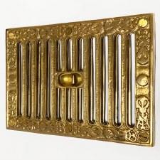 Cast Decorative Hit & Miss Air Vent Large Polished Brass