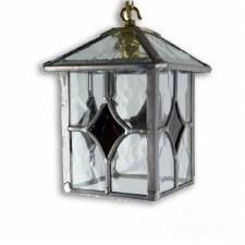 Leaded Hanging Lantern Amber