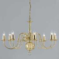 Flemish 8 Arm Chandelier Polished Brass
