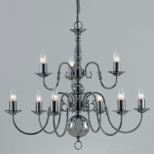 Flemish 9 Arm 2 Tier Chandelier Gun Metal