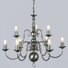 Flemish 9 Arm 2 Tier Chandelier Pewter