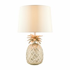 Laura Ashley Pineapple Table Lamp Cream/Gold with Shade