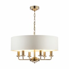 Laura Ashley Sorrento 6L Pendant Antique Brass with Shade