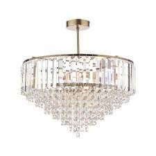 Laura Ashley Vienna 5 Light Semi Flush Crystal Antique Brass