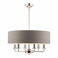 Laura Ashley Sorrento 6L Pendant Polished Nickel with Charcoal Shade